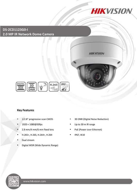 دوربین مداربسته تحت شبکه هایک ویژن DS-2CD1123G0-I