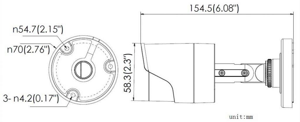 ابعاد بدنه و لنز DS-2CE16D0T-IRF