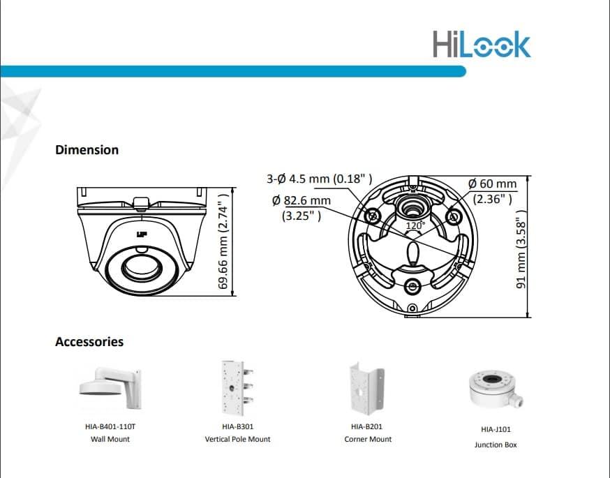 دوربین مدار بسته آنالوگ هایلوک مدل THC-T120-MC